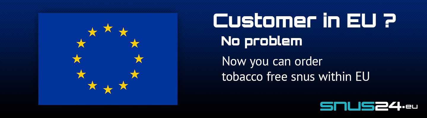 You can now buy tobacco free snus witin EU at snus24.eu